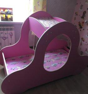 Кровать карета с матрасом