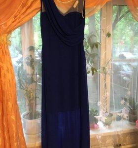 Платье в пол синие