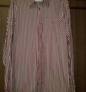Рубашка в бело-бордовую полосу