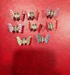 Заколки детские бабочки 8 штук