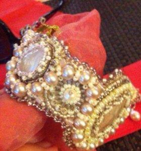 Новый браслет и серьги с натуральный жемчугом и пе