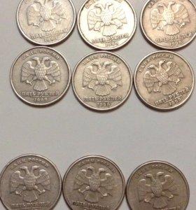 Продам редкие монеты -5 ₽ 1998 спб и 1997 спб