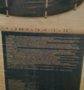 Круглый каркасный бассейн 3.66м/76см intex + чехол