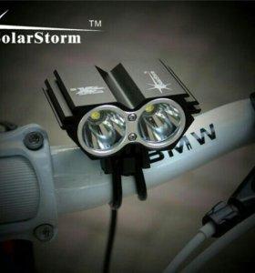 Мощный фонарь на велос SolarStorm новый