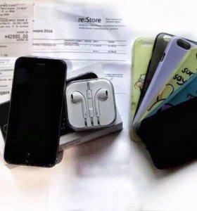 iPhone 6, 16гб( полный комплект) + 7 чехлов