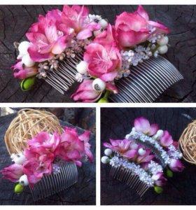 Украшения на волосы ручная работа фоамиран цветы