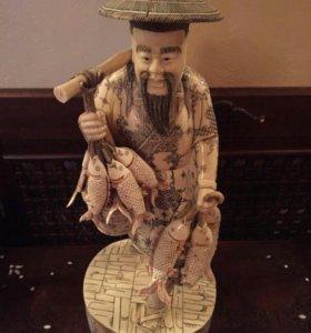 Статуэтка Китаец с рыбками
