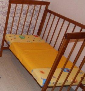 Детская кроватка + кокосовый матрасик