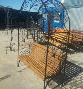 Кованые Арки со скамейкой для сада