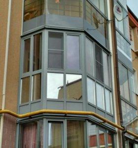 Остекление балконов с крышей. Обшивка вагонкой.