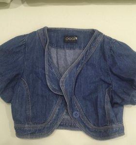 Укорочённый жакет джинсовый