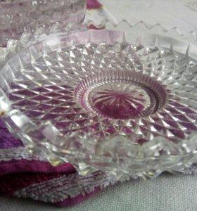 Хрустальные тарелки для канапе