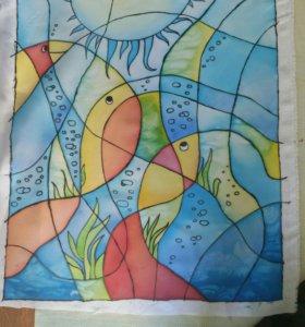 Картина на ткани ручной работы