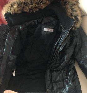 Мужская куртка, кожа и мех настоящие