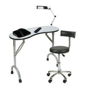 Стол маникюрный стул мастера лампа