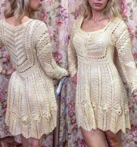 Платье кружевное шелковое