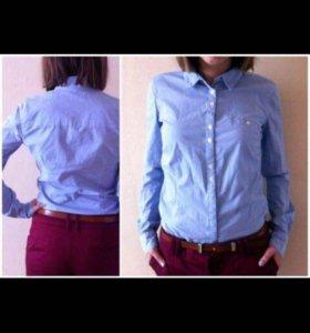 Хлопковая рубашка голубая 42-44