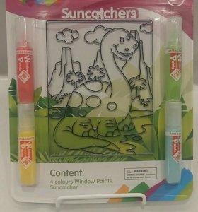 Набор витраж и витражные краски Динозаврик