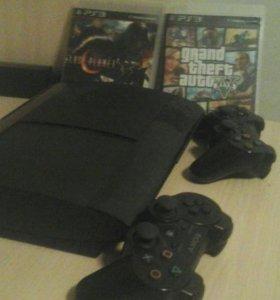 Нпбор Playstation 3 500gb +2 геймпада+ 2 игры