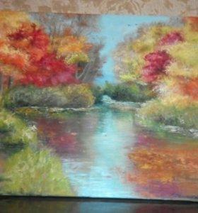 "Картина маслом ""осень"" холст"
