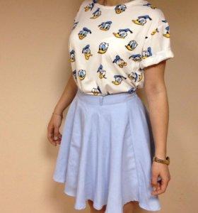 Женская голубая юбка полусолнце
