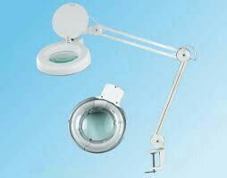 Лампа-лупа на струбцине новая люминисцентная