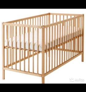 Детская кроватка икеа+ матрас икеа+балдахин с креп