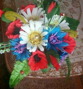 Цветы с конфетами.