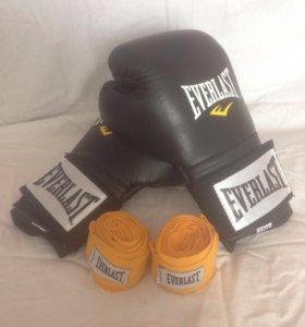 Боксерские перчатки Everlast🥊 + бинты ( 2,75 м )