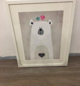 Холст с изображение милого медведя.