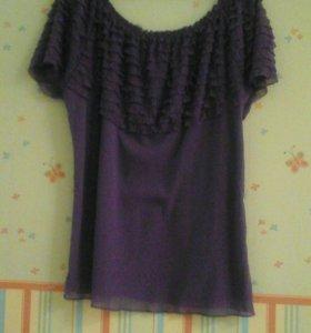 Шифоновая блуза двухслойная с оборками фиолетовая