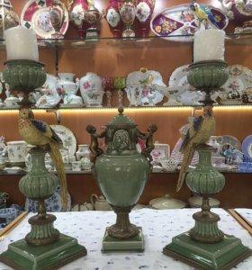 Подсвечники с попугаями Фарфор Бронза 57 см