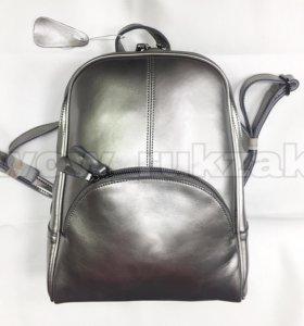 Кожаный серебряный рюкзак трансформер Молли