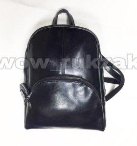 Чёрный кожаный рюкзак трансформер Молли