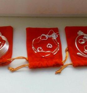 Новые посеребреные наборы в подарочном мешочке