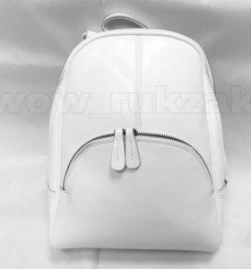 Белый кожаный рюкзак трансформер Молли