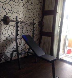 Атлетическая скамья для жима с подставкой