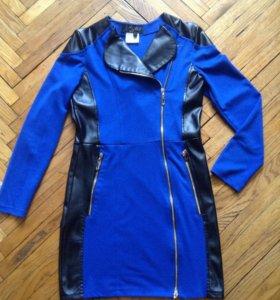 стильное платье-косуха с вставками под кожу