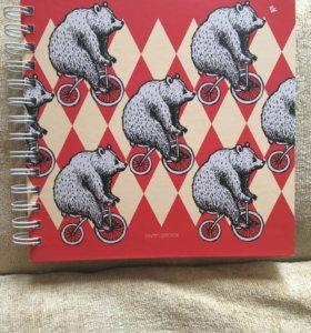 Скетчбук медведи 🐻 на велосипеде 🚴 80 листов