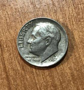 10 центов Рузвельта 1982