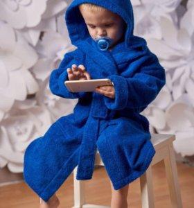 Детский махровый халат. Синий