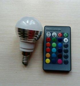 Светодиодная лампочка rgb с пультом ДУ Е14