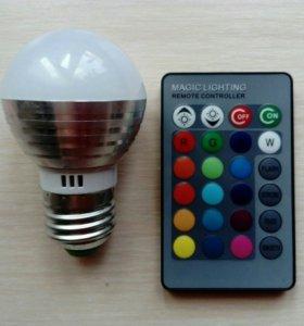 Светодиодная лампочка rgb с пультом ДУ Е27