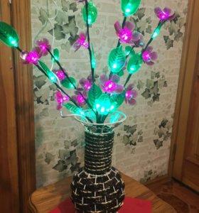 Светящиеся цветы в вазе