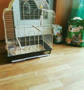 Клетка для попугая,игрушка,корм