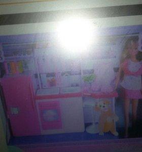 Набор кукла барби и кухня с аксесуароми