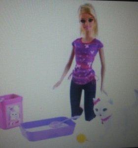 Кукла барби с котёнком