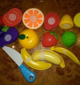 Набор фрукты на липучках, новый