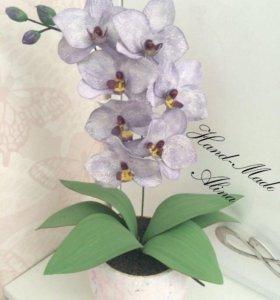 Орхидеи в горшке из фоамирана