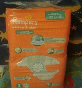 Памперсы sleep and play новая упаковка от 3-6 кг.